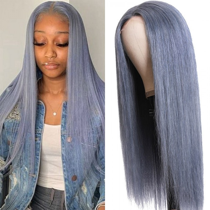 Silver Grey Straight Middle Part Lace Wig 150% Density Glueless 100% Dyed Virgin Hair