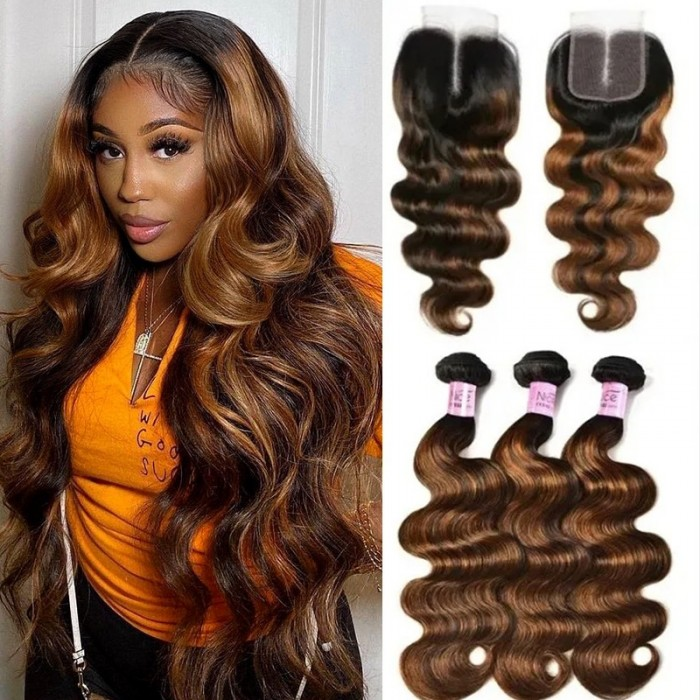 Unice Superior 4x4 Lace Closure With 3 Bundles Body Wave Brown Balayage Color