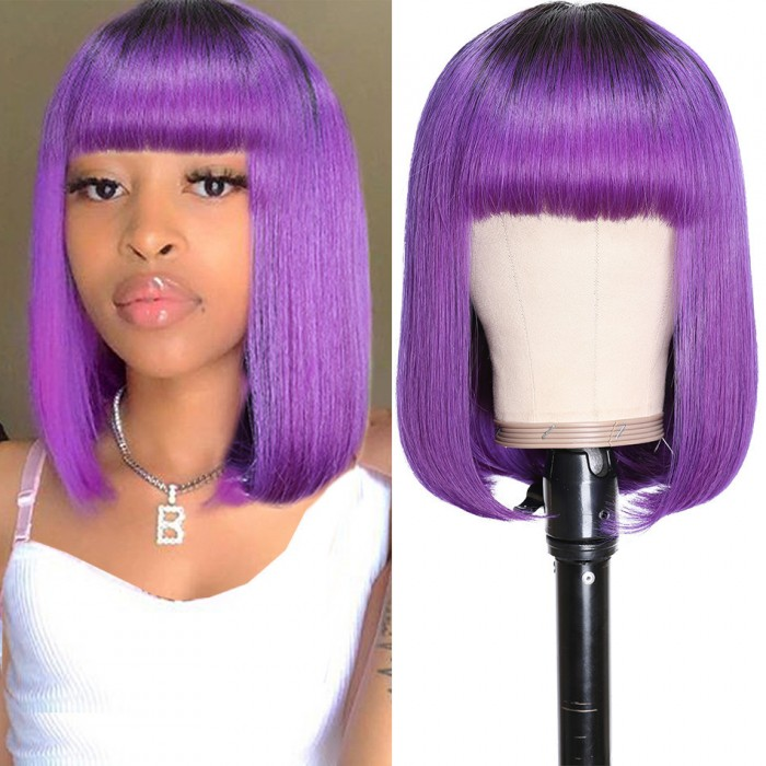 UNice T1B/Purple Ombre Bob Wig for Women Glueless Short Straight Human Hair Machine Made Wig with Bangs Bettyou Series