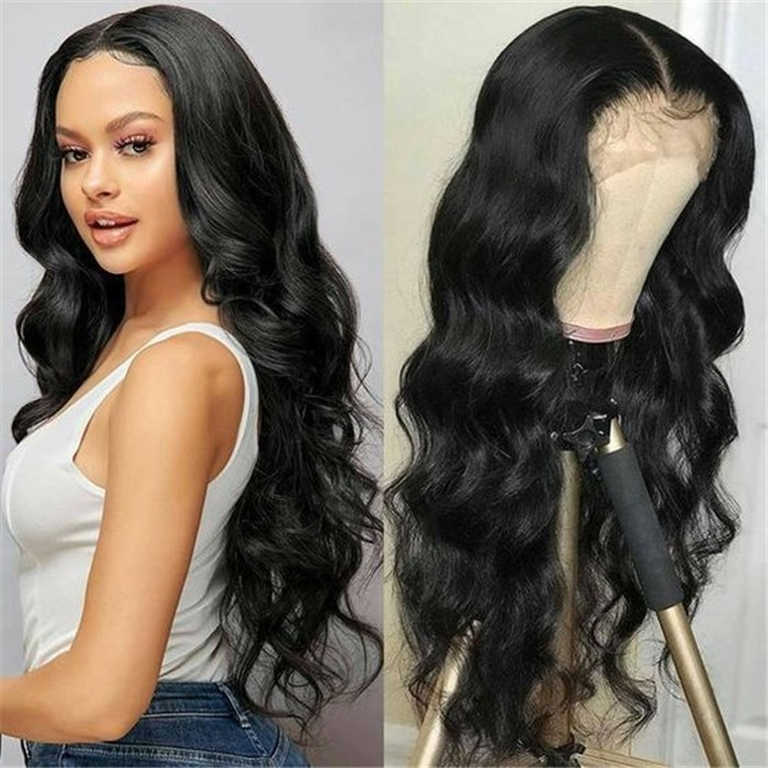 UNice Three Part Lace Wigs Body Wave Human Hair Wigs Pre Plucked Lace Part Wig 150% Density Natural Color Bettyou Series