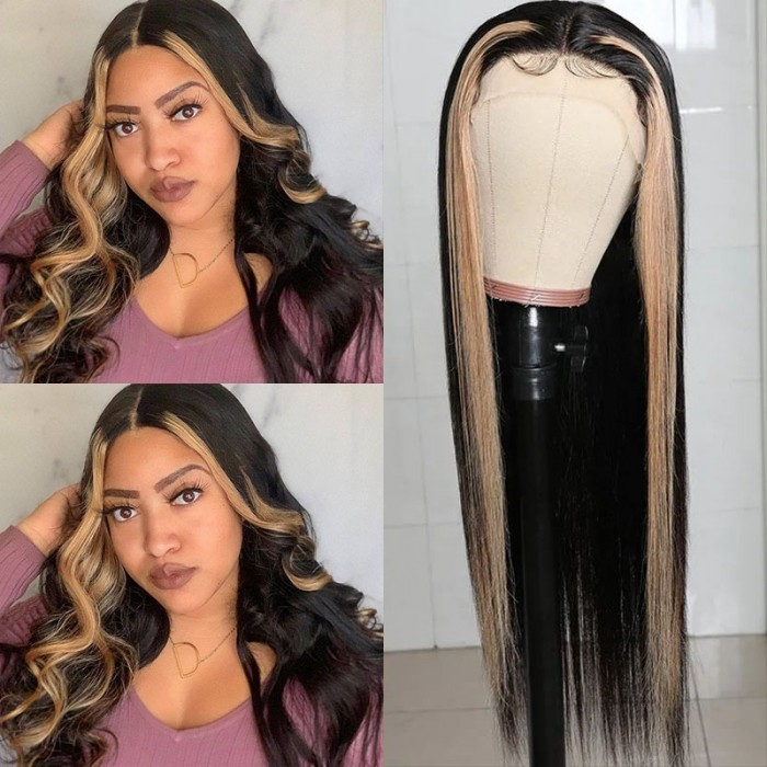 UNice TL27 Straight Human Hair Wigs Upgrade Lace Part Wigs Natural Color Three Part Long Straight Wigs 150% Density Bettyou Series