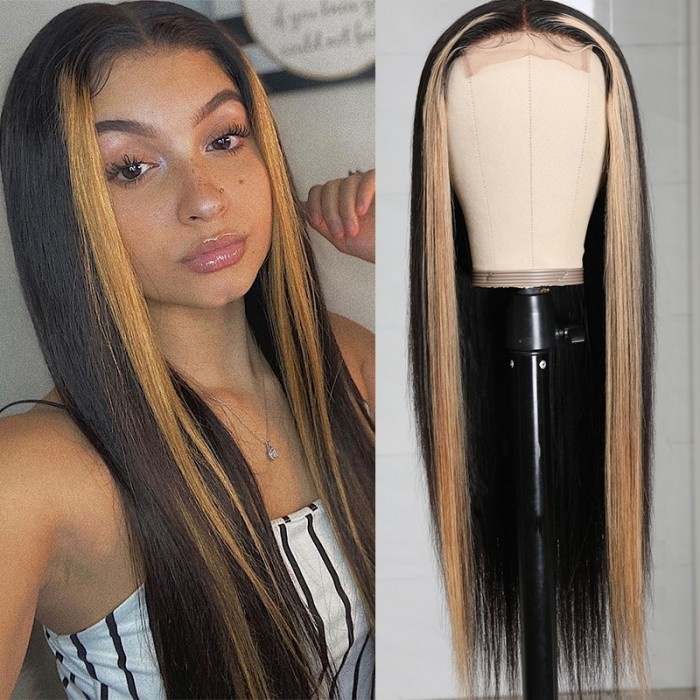 UNice TL27 Straight Human Hair Wigs Upgrade Lace Part Wigs Natural Color Double U Shape Long Straight Wigs 150% Density Bettyou Series