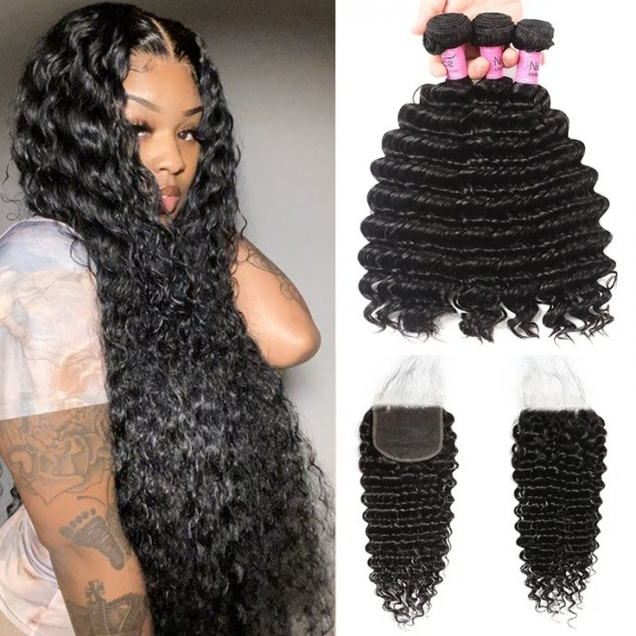 UNice Undetectable HD Lace Closure 5x5 with 3 Bundles Deep Wave Weave With Baby Hair