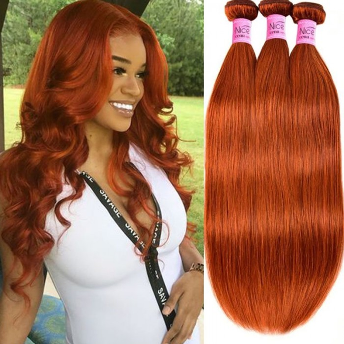 UNice Virgin Hair Straight 3 Bundles Colored Hair Ginger Hair Weave Bundles #350 Human Hair Icenu Series