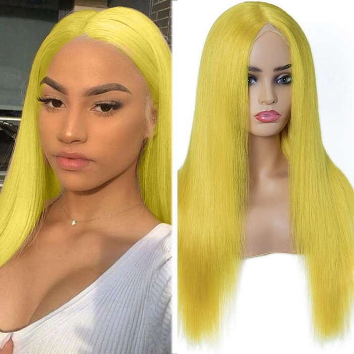 UNice Yellow Straigt Hair Wigs With Natural Middle Part Hairline