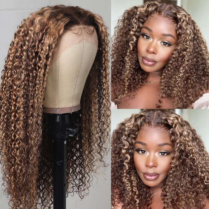 UNice Ombre Honey Blonde Highlight Lace Front Curly Human Hair Wigs Bettyou Series
