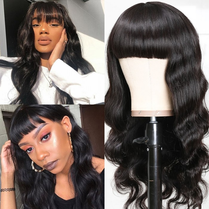 UNice 100% Unprocessed Human Hair Machine Made Wigs Body Wave Hair 150% Density Human Hair Wigs with bangs For African American Women Natural Black