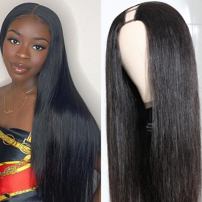 FLASH DEAL 18 Ince U Part Wig Virgin  Human Hair Wigs Straight 150 Density Glueless Middle Part Wig