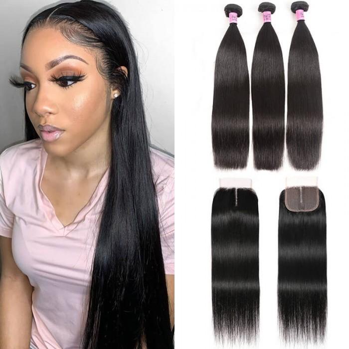 UNice Hair 3 Bundles With Closure Middle Part 100% Unprocessed Remy Human Hair T Part Lace Closure Natural Black Color