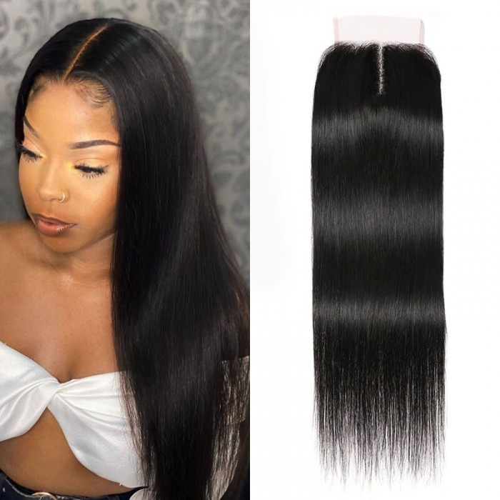 UNice Hair Upgrade T Part Lace Closure with Baby Hair Straight Human Hair Closure Middle Part Natural Black