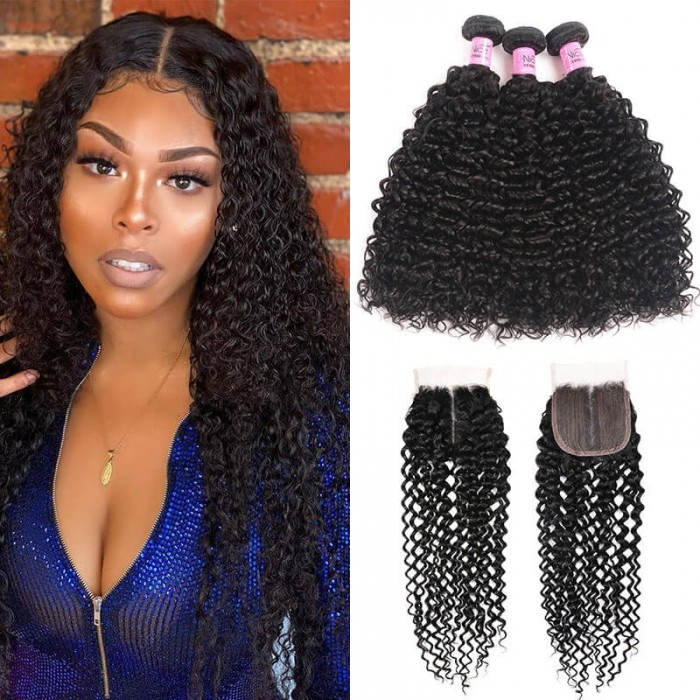 UNice Hair Curly Human Hair 3 Bundles With T Part Lace Closure Virgin Hair Curly Bundles With Closure Full Head Natural Black