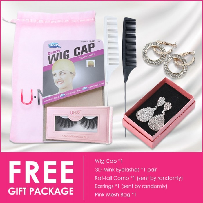 Unice FREE gift package wig cap 3d mink eyelashes ear rings comb and pink mesh bag