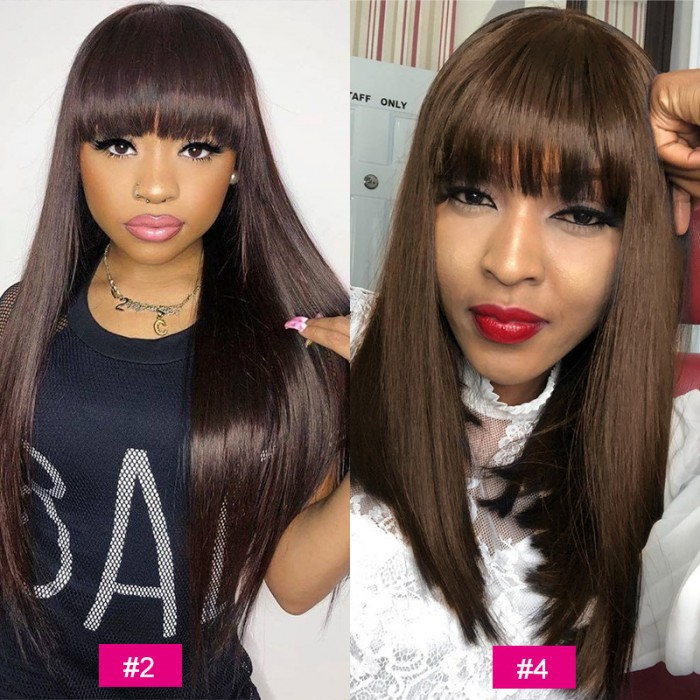 UNice Hair Bettyou Series Iron Hot Straight Realistic Hair Machine Wigs with bangs Brazilian Human Virgin Hair For Black Women