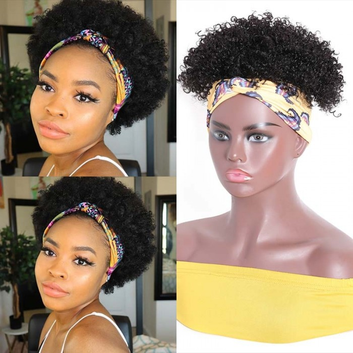 UNice Wrap Wig 2 in 1 Afro Kinky Curly Short Human Hair Wigs for African American Women Natural Black Headband Extension Hairpiece