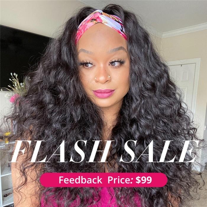 Unice INS Flash Sale Water Wave Headband Wig 150% Density No Glue Needed 18 Inch