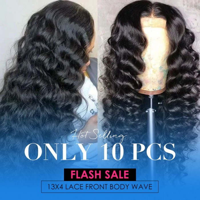 Flash Sale UNice New Style Body Wave 13x4 Lace Front Wigs Human Hair 16 Inch