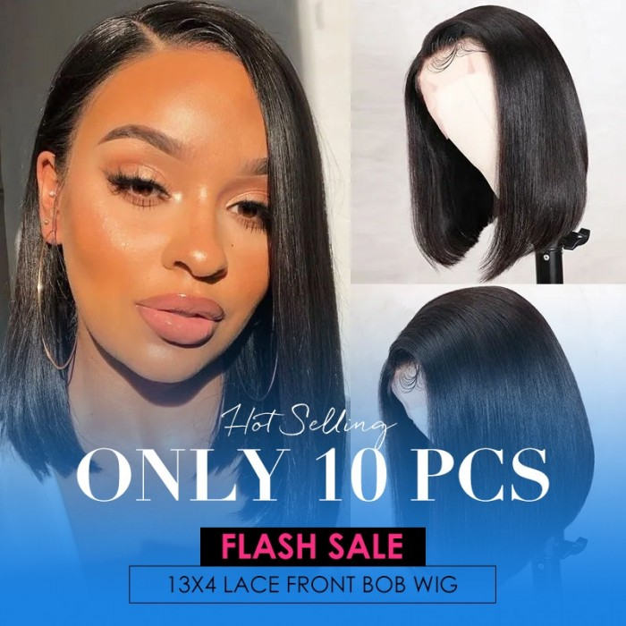 Flash Sale Side Part Bob 13x4 Lace Front Wig 10 Inch Silky Straight Human Hair