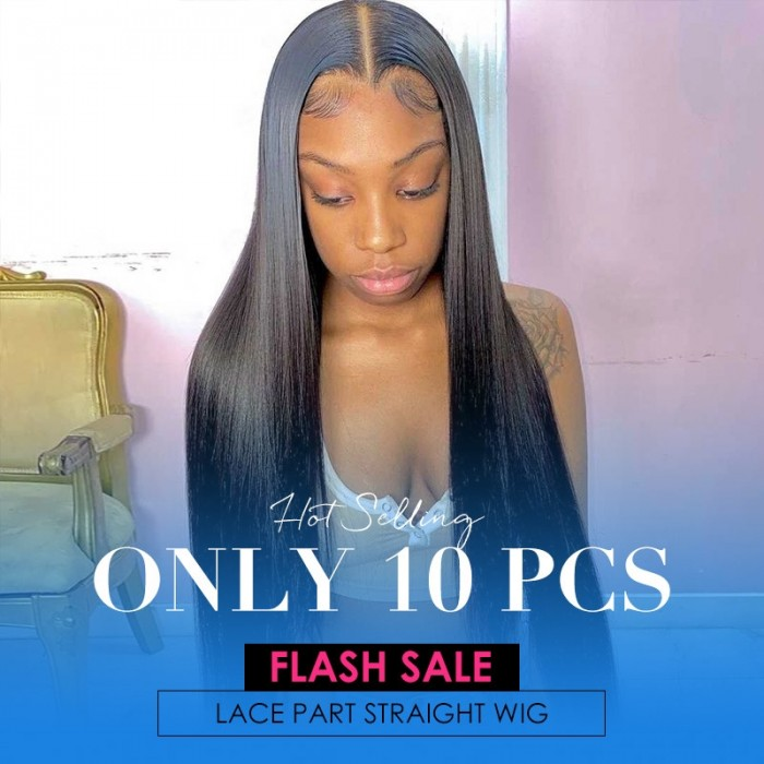 Flash Sale Straight Human Hair Wigs Middle Part Lace Wigs Pre Plucked Natural Hairline 18 Inch