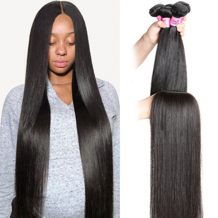 UNice Long Straight Human Hair Bundles 34 Inch 36 Inch 38 Inch 40 Inch Virgin Straight Human Hair 1 Bundle Natural Color Icenu Series