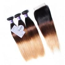 UNice Hair Kysiss Series Virgin Human Hair 3 Bundles T1B/4/27 Ombre straight Hair With Lace Closure