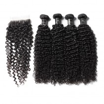 UNice Hair Banicoo Series 4 Bundles Jerry Curly Hair Extension With Hand Made Lace Closure