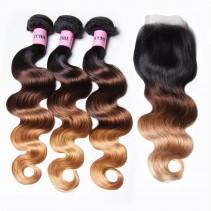 UNice Hair Icenu Series Hair T1B/4/27 Ombre 3 Bundles Body Wave With Closure 100% Virgin Human Hair