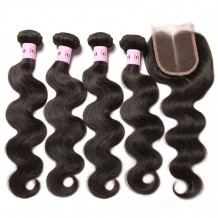 UNice Hair Icenu Series Peruvian Body Wave Lace Closure With 4pcs Hair Bundles