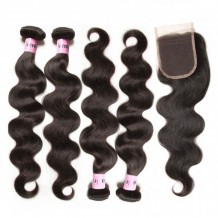 UNice Hair Icenu Series 4pcs Brazilian Virgin Hair Body Wave Hair Bundles With Lace Closure