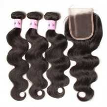 UNice Hair Icenu Series Quality 3pcs 7A Body Wave Hair With 4*4 Inch Lace Closure 100% Human Hair