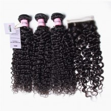 UNice 3 Bundles Virgin Jerry Curly Human Hair With Lace Closure