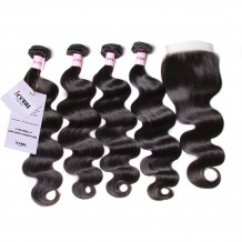 UNice Malaysian Body Wave 4 Bundles With Closure