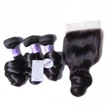 UNice Hair Kysiss Series 100% Peruvian Loose Wave 3pcs Virgin Hair With Closure