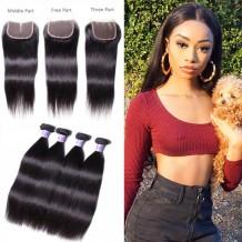 UNice Hair Kysiss Series 4 Bundles Best Brazilian Straight Virgin Hair With Closure