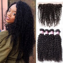 UNice Hair Icenu Series 4pcs Human Curly Hair With Frontal Hair Lace Closure