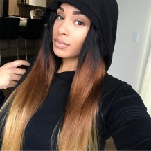 UNice Virgin Human Hair 4 Bundles T1B/4/27 Ombre straight Hair With Lace Closure