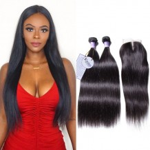 UNice Hair Kysiss Series 3 Bundles Of Indian Straight Hair With Lace Closure