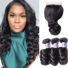 UNice Hair Kysiss Series Best Brazilian 3 Bundles Loose Wave With Lace Closure