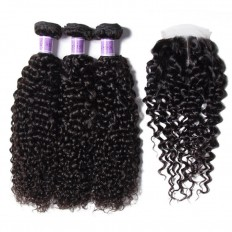 UNice Hair Kysiss Series Peruvian Jerry Curly Hair 3 Bundles With Lace Closure