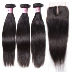 UNice Hair Icenu Series 3 Bundles Peruvian Straight Hair Weft With Closure