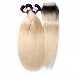 UNice Ombre Hair Color 1B/613 Straight Virgin Hair 3 Bundles With 4*4 Lace Closure
