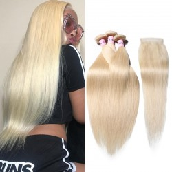 UNice Hair 3 Bundles 613 Blonde Straight Human Hair Weaves With 4X4 Lace Closure