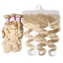 UNice Hair 3PCS 613 Blonde Body Wave Hair With 13x4 Lace Frontal 100% Virgin Human Hair