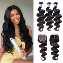 UNice Hair Kysiss Series Malaysian 3 Bundles Body Wave Hair With Lace Closure On Sale
