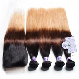 UNice Hair Kysiss Series Virgin Human Hair 4 Bundles T1B/4/27 Ombre straight Hair With Lace Closure
