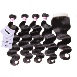 UNice Body Wave Lace Closure With 4pcs Remy Hair Bundles