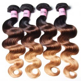 UNice Hair Icenu Series Human Virgin Hair 4pcs/pack Three Tone Ombre Body Wave Hair