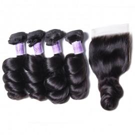 UNice Hair Kysiss Series Quality Brazilian Loose Wave Virgin Hair 4 Bundles With Closure