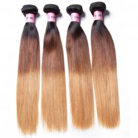 UNice Hair Icenu Series Hair 4 Bundles Three Tone Ombre Straight Human Virgin Hair Weaving