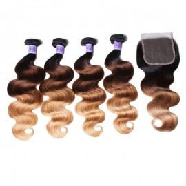 UNice Hair Kysiss Series 100% Virgin Human Hair T1B/4/27 Ombre 4 Bundles Body Wave With Closure
