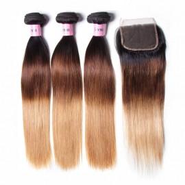 UNice Hair Icenu Series Hair 3 Bundles Straight Hair With Closure 100% Ombre Virgin Human Hair